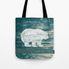 Rustic White Bear on Blue Wood Lodge Art A231b Tote Bag