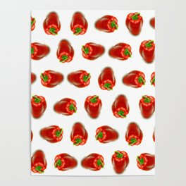 Red peppers pattern Poster