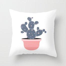 Cactus Pot Plant C15 Pink and Gray Throw Pillow