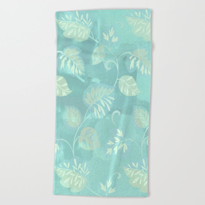 soft foliage in blue Beach Towel