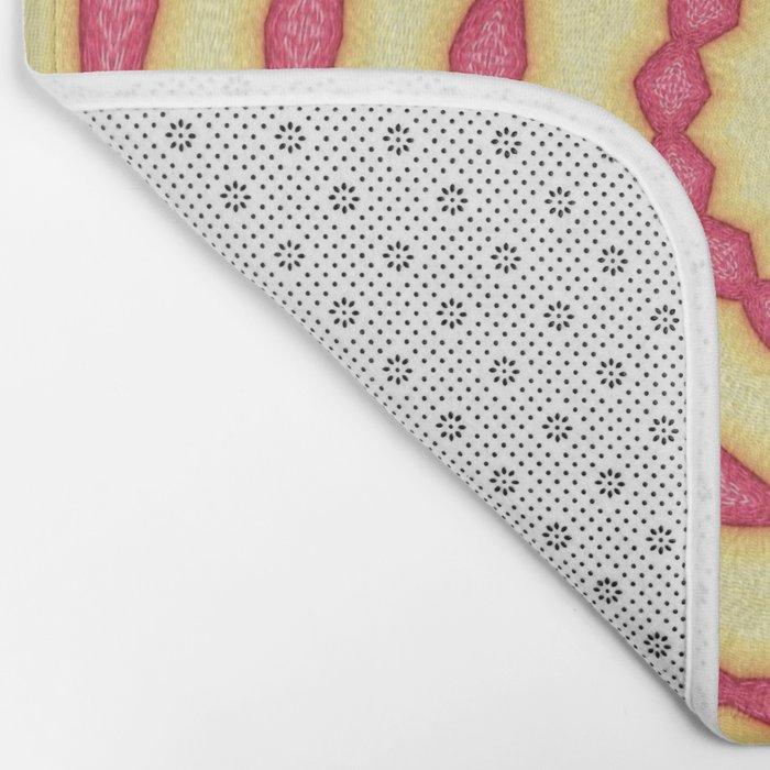 YELLOW AND PINK CIRCLES - MANDALA Bath Mat