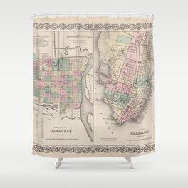 Vintage Map of Savannah GA and Charleston SC (1886) Shower Curtain