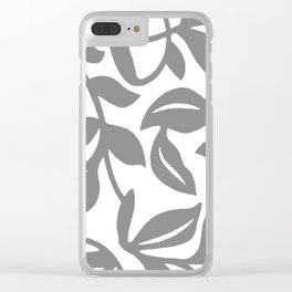 LEAF PALM SWIRL IN GRAY AND WHITE Clear iPhone Case