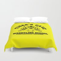 wrestling Duvet Covers featuring Tiger's cave wrestling school by CarloJ1956