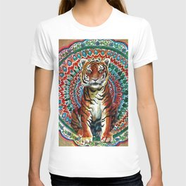 Tiger Watercolor Yoga Mandala T-shirt