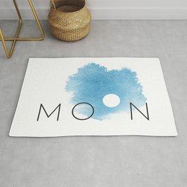 Full Moon Phases Blue Watercolor Sky Lunar Bohemian Rug