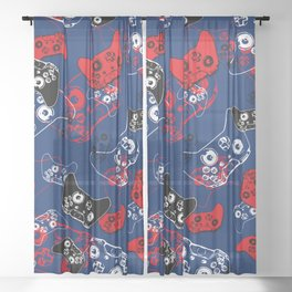 Video Game Red White & Blue 1 Sheer Curtain
