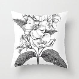 Vintage Flowers Bush Throw Pillow