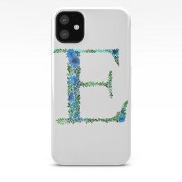 Floral Monogram Letter E iPhone Case