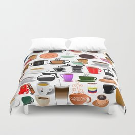 Coffee Mugs, Cups and Makers Duvet Cover