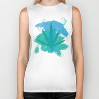 water colour Biker Tanks featuring Water Colour Leaf by sstonnedd