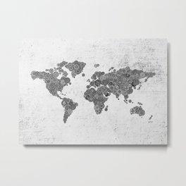 Mandalas on Rustic White Concrete World Map Art Metal Print