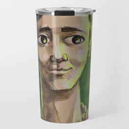 great female scientist testing radiation Travel Mug