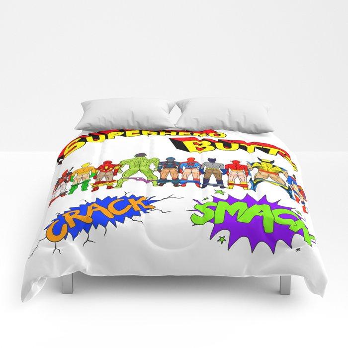 Superhero Butts Crack Smack Comforters