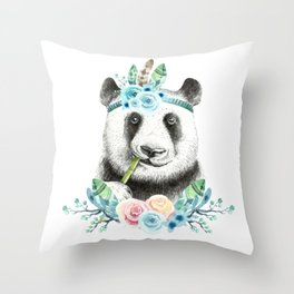 Watercolor Floral Spray Boho Panda Throw Pillow