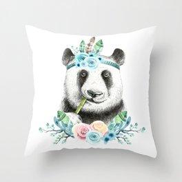 Watercolor Floral Spray Boho Panda Throw Pillow