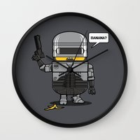 law Wall Clocks featuring Despicable Law Enforcer by Pigboom Art