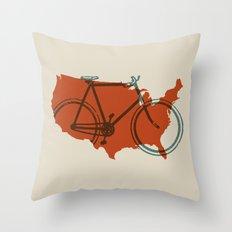 Bike America Throw Pillow