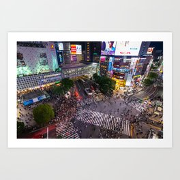 Crowd walking across Shibuya crossing in Tokyo, Japan Art Print