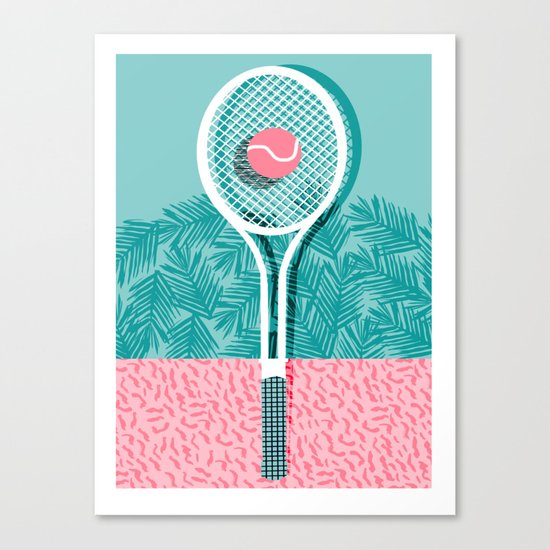Good to go - memphis throwback 1980s neon pastel abstract sports tennis racquetball athlete game  Canvas Print
