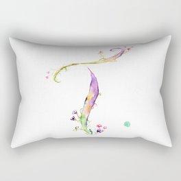 Letter T watercolor - Watercolor Monogram - Watercolor typography - Floral lettering Rectangular Pillow