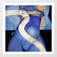 Blue in Royalty (nude 4) Art Print