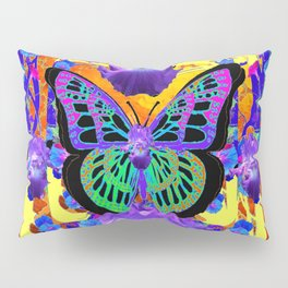 SURREAL LILAC IRIS PEACOCK BLACK BUTTERFLY Pillow Sham