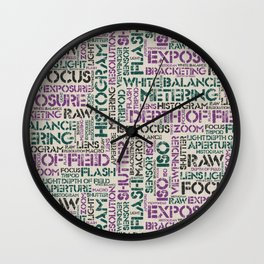 Photography Terms Word Pattern Wall Clock