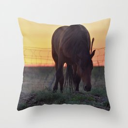 Wild Mustang at the end of the day Throw Pillow