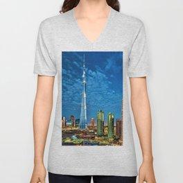 Burj Khalifa Skyscraper Dubai United Arab Emirates (UAE) City Lights Portrait Unisex V-Neck