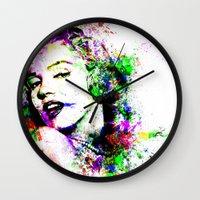 marylin monroe Wall Clocks featuring Monroe. by David