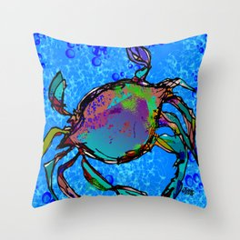 Blue Crab Bubbles Throw Pillow