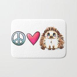 Peace, Love and Hedgehogs Bath Mat