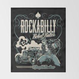 Rockabilly Rebel Rules Throw Blanket