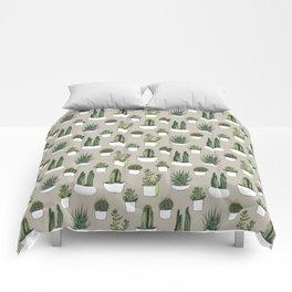Watercolour cacti & succulents - Beige Comforters