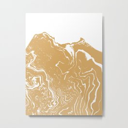 Marble suminagashi gold metallic abstract art minimal water japanese wave ocean Metal Print