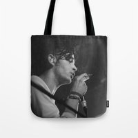matty healy Tote Bags featuring Matt Healy by Andras Wobe Kocsis