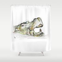 hippo Shower Curtains featuring Hippo by Ursula Rodgers