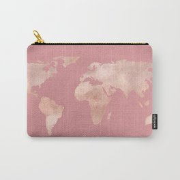 Rosegold World Map Sans Type Carry-All Pouch