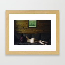 Cabin in the woods Framed Art Print