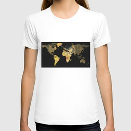 World Map Silhouette - The Kiss Gustav Klimt T-shirt