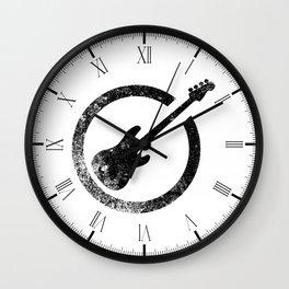 Bass Guitar Ink Stamp Wall Clock