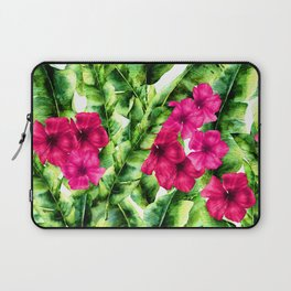 green banana palm leaves and pink flowers Laptop Sleeve
