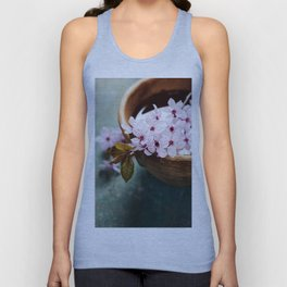 spring flowers for spa and aromatherapy over wooden background Unisex Tank Top