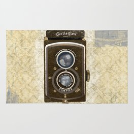Yellow Vintage Camera Art Rug