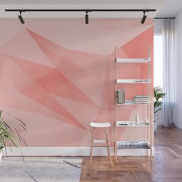 Pantone Living Coral Color of the Year 2019 on Abstract Geometric Shape Pattern Wall Mural