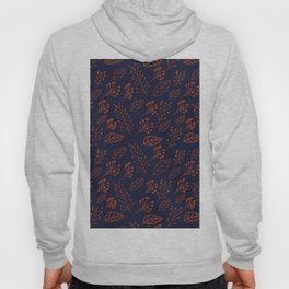 Rust leaves and branches on dark blue Hoody