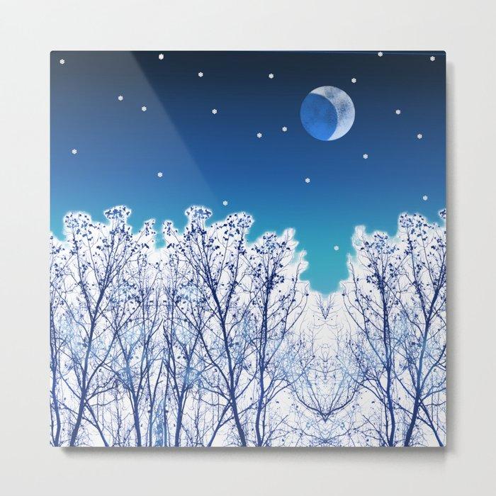 White Woods Snow Metal Print