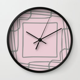 Decorative pink and grey abstract squares Wall Clock