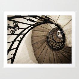 upwards - elegant old spiral staircase Art Print
